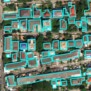 Satellite image with outlines around houses